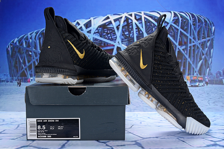 cb116e9c5ae Off White Nike LeBron 16 EP Black Gold White AO2588 055 Men s ...