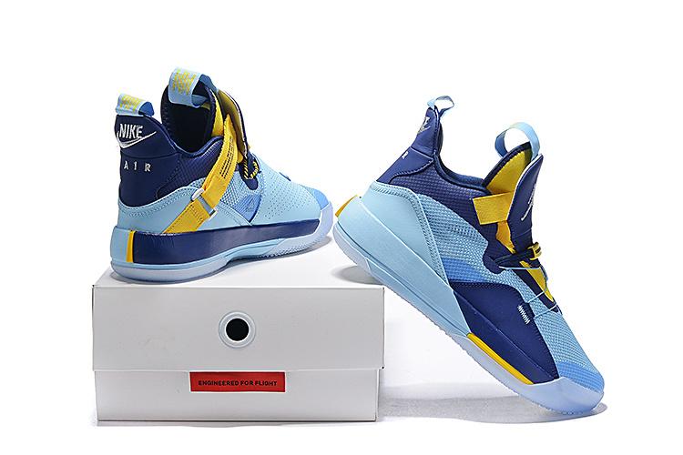ec1faac2fdc4 Air Jordan 33 XXXIII Future of Flight Light Blue Navy Blue Yellow ...