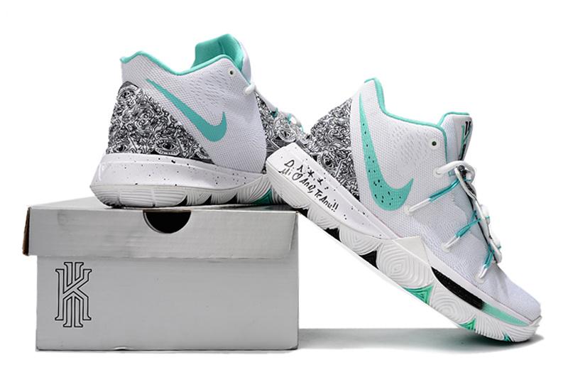 0f9e5dfd2219 Nike Kyrie 5 PE White Mint Green-Black Men s Basketball Shoes NIKE ...