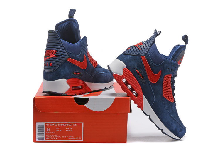 huge selection of 0b1b6 33f53 Nike Air Max 90 Winter Sneakerboot Navy Blue Red White 684714 019 Men's  Running Shoes Sneakers 684714-019