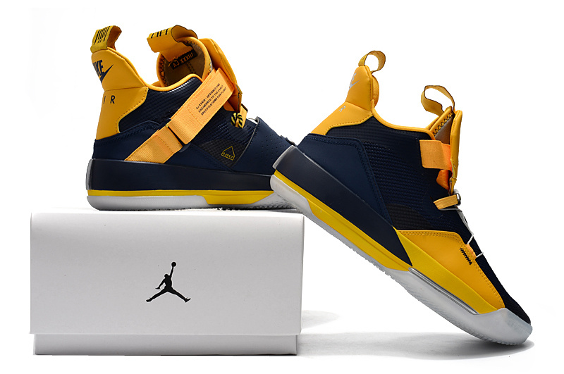 7395229733e Air Jordan 33  Michigan  PE Navy Blue Yellow Men s Basketball Shoes ...