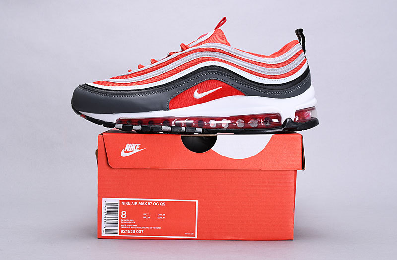 big sale a34cd 0aa0f Nike Air Max 97 Dark Grey, Wolf Grey, Gym Red 921826 007 Women's Casual  Shoes 921826-007A