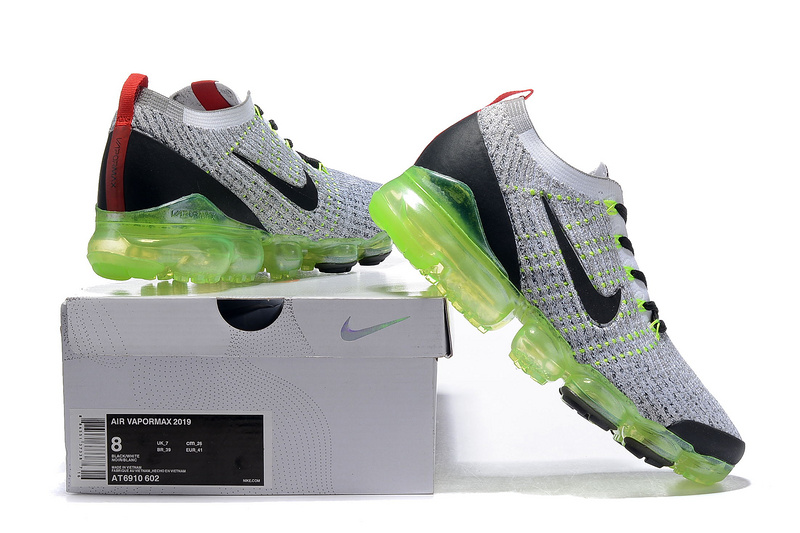 pretty nice cbb41 2ece9 Nike Air Vapormax Flyknit 2019 Light Grey Black Red AT6910 602 Men's  Running Shoes NIKE-ST005099