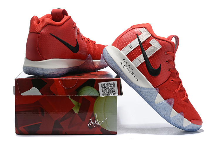 the best attitude 834f2 6f3c3 Nike Kyrie 4 October Red White Black Men's Basketball Shoes NIKE-ST005072