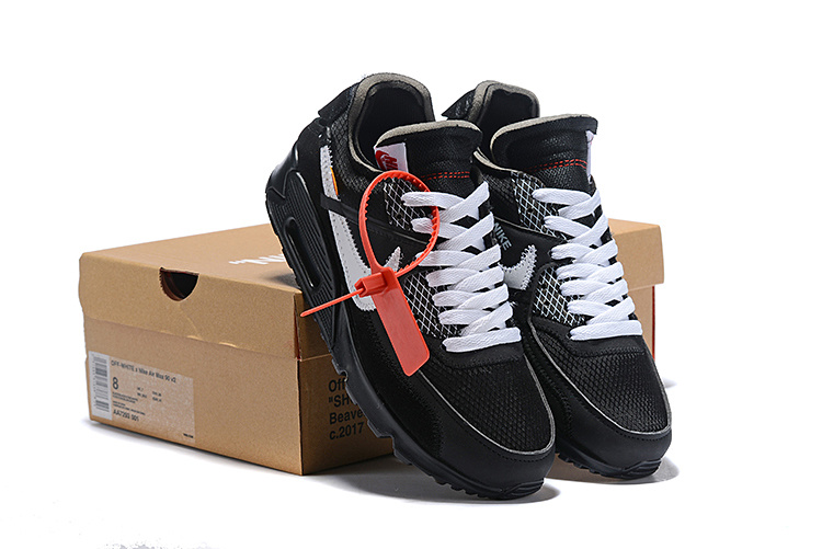 new product 6e8c2 9c773 Off-White Nike Air Max 90 Black Cone White AA7293 001 Men's Running Shoes  Sneakers AA7293-001A