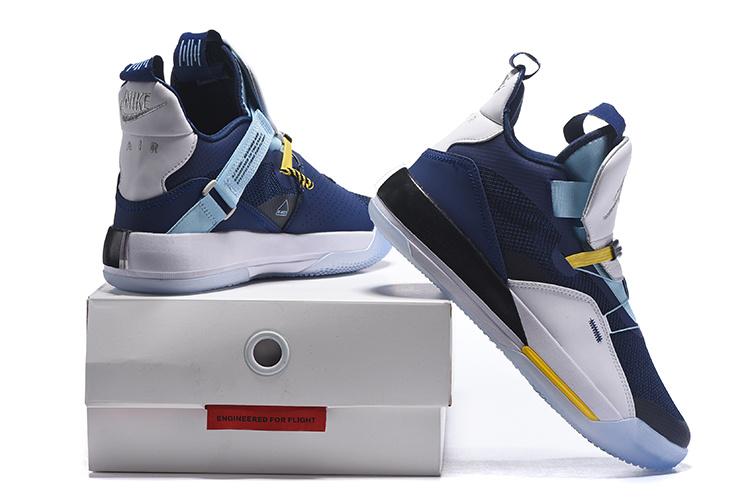 5044a4d3918b Air Jordan 33 XXXIII Future of Flight White Navy Blue Men s Basketball Shoes
