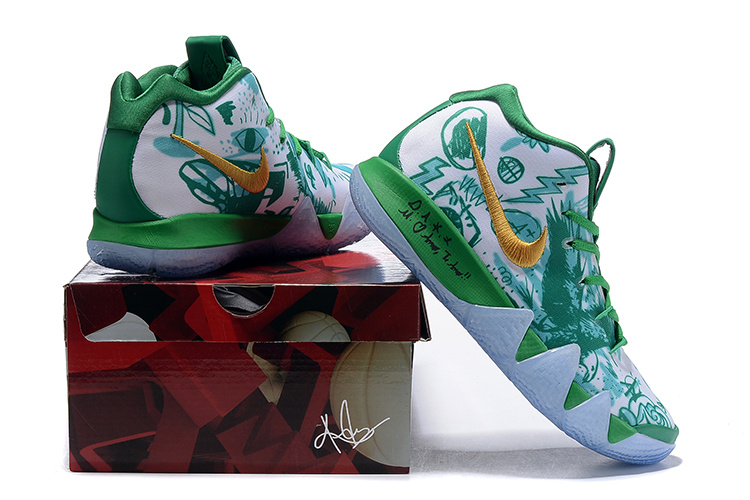 brand new 5c735 84f8f Nike Kyrie 4 White Green Gold Men's Basketball Shoes NIKE-ST005073