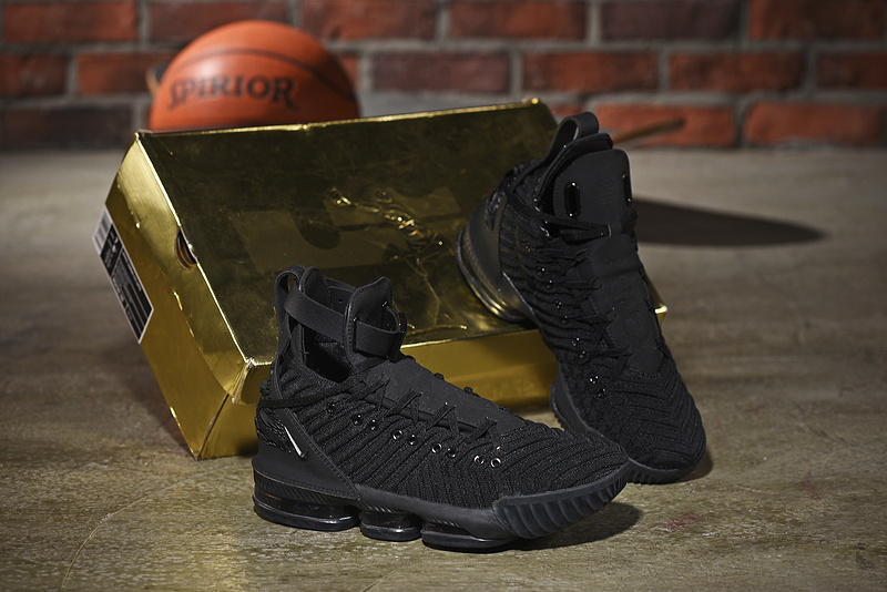 size 40 79cc0 d5203 Nike LeBron 16 HFR Harlem's Triple Black Men's Basketball Shoes  NIKE-ST004927
