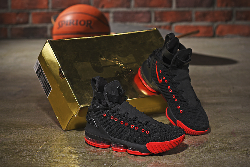 00746726ac9c Nike LeBron 16 HFR Harlem s Black Red Men s Basketball Shoes NIKE ...
