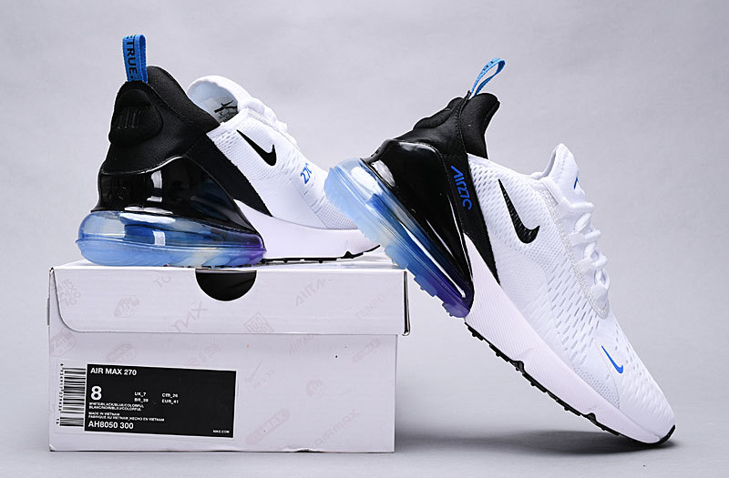 save off e3d77 12bc3 Nike Air Max 270 White Blue Black Multi-Color AH8050 300 Women's Men's  Casual Shoes AH8050-300B