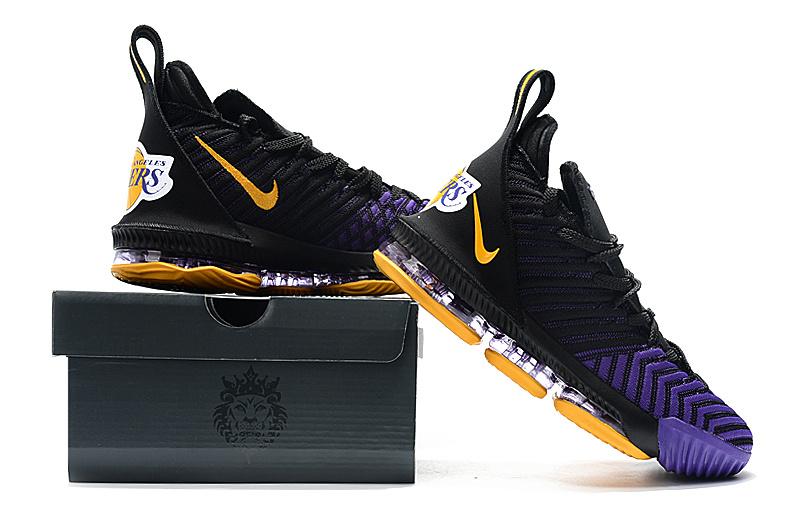 timeless design d3d50 61f55 Nike LeBron 16 Men's Basketball Shoes King Lakers Black Gold Purple  NIKE-ST004941
