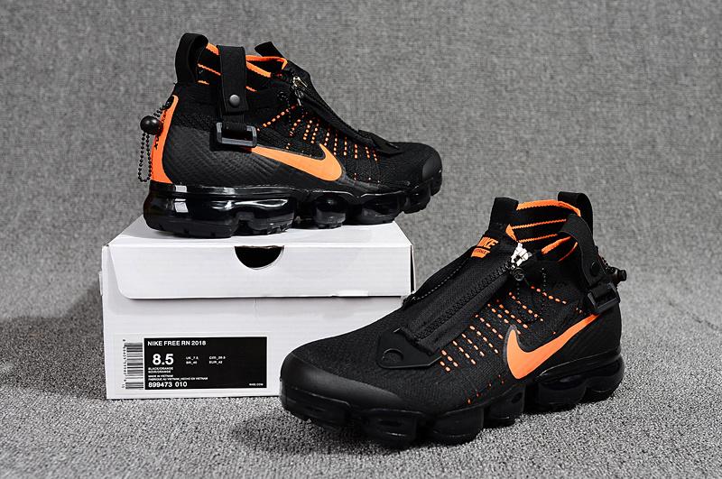 ab19ad2f7f1 Nike Air Vapormax Flyknit Zipper Black Orange 899473 010 Men s ...