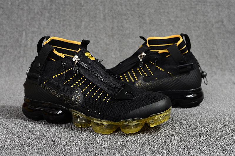 c32d78ae36 Nike Air Vapormax Flyknit Zipper Black Yellow Men's Running Shoes ...