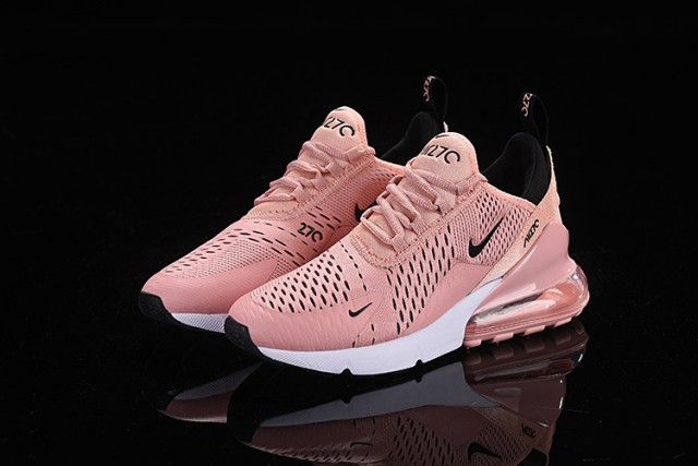 outlet store ad56b ba7af Nike Air Max 270 Flyknit Pink White Black Women s Casual Shoes