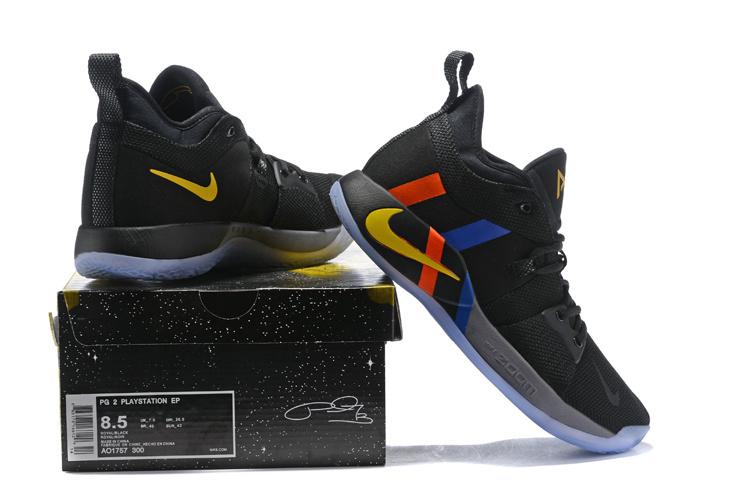 fb70bd131e0c ... Paul George Basketball Shoes›. Nike PG 2 PE Black Metallic  Gold Grey Orange Blue Men s Basketball