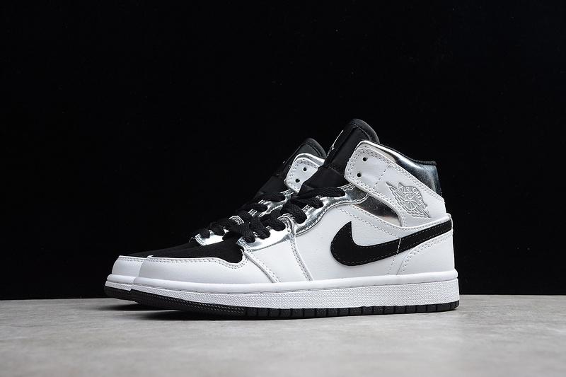 brand new e24c5 5cf51 Nike Air Jordan 1 Retro Mid White Silver Black 554724-121 Mens Athletic  Basketball Shoes 554724-121