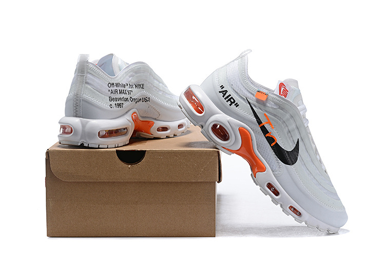 sports shoes a9502 ce972 Mens Off White Nike Air Max TN White Black Total Orange Males Running Shoes  NIKE-ST005311