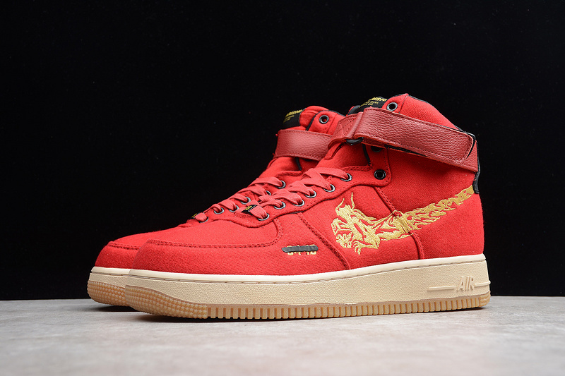 buy popular bb29b 8a4ad Nike Air Force 1 High Premium Red Gold CI3900-991 Men s Sneakers