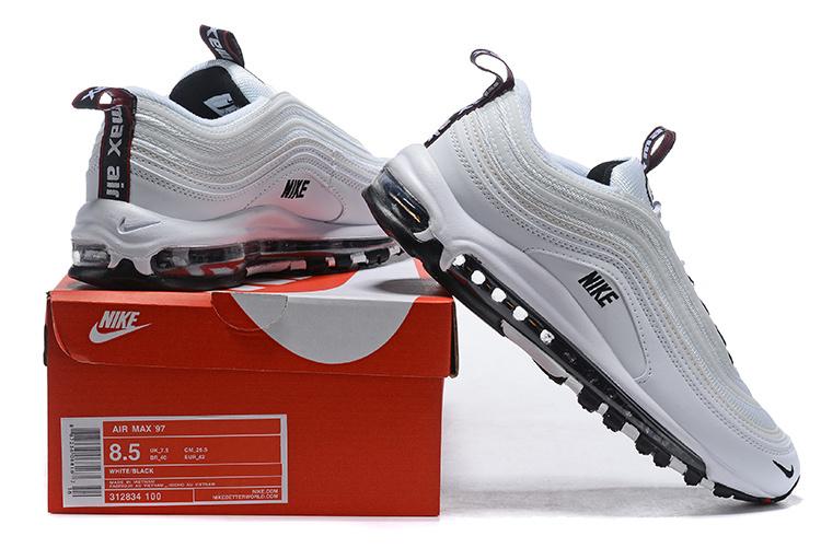 b865a9e666 Men's Nike Air Max 97 Premium White Black 312834 100 Boys Casual Shoes  312834-100
