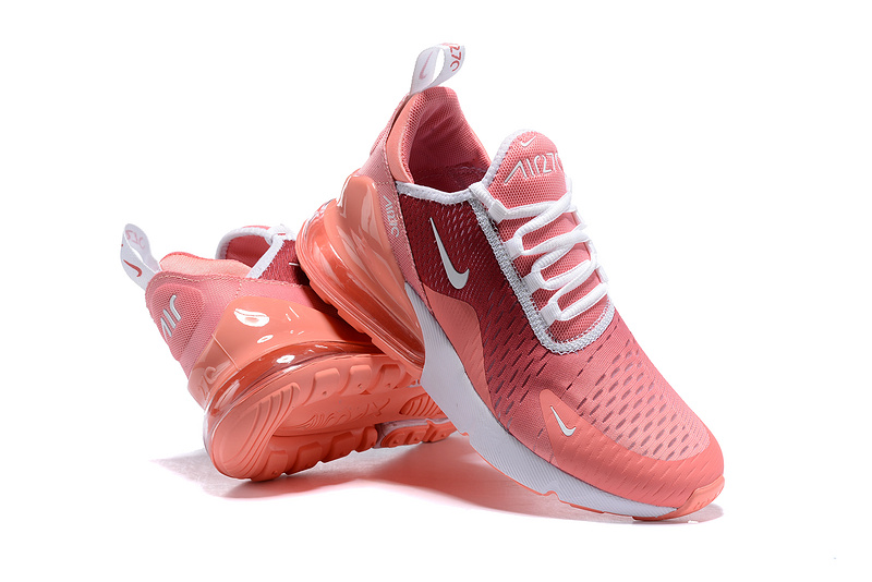 Nike Air Max 270 Flyknit White Burgundy Pink Women's Casual Shoes NIKE ST005356