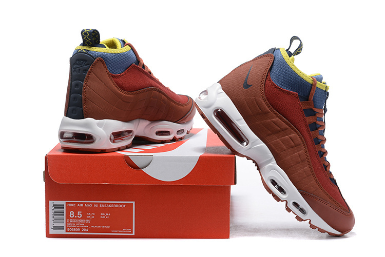 new arrival 6c09f e6691 Nike Air Max 95 Sneakerboots Dark Russet/Light Bone/Yellow Ochre/Thunder  Blue 806809 204 Men's Snow Boots Sneakers 806809-204