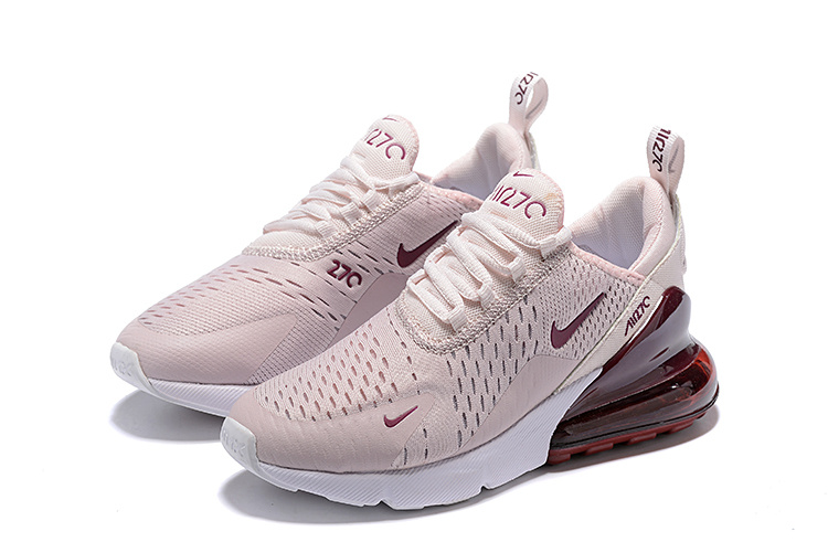 Nike Air Max 270 Flyknit Pink White Burgundy Women's Casual Shoes NIKE ST005365