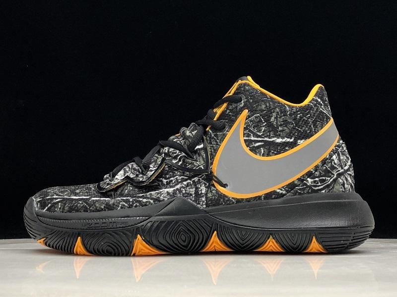 6f374c39433 Nike Kyrie 5 Black Dead leaves dark gray yellow AO2919-902 Men s Basketball  Shoes AO2919-902
