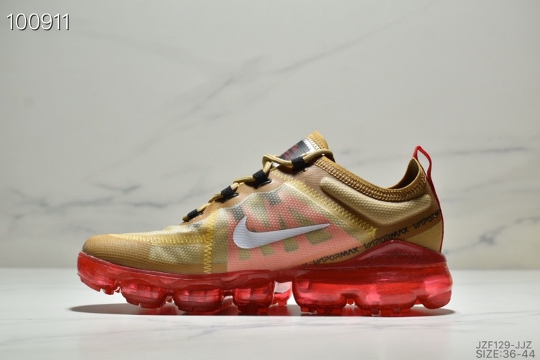 premium selection ff7d8 1b46e Nike Air VaporMax 2019 Gold Red AR6631-701 Men's Running Shoes AR6631-701