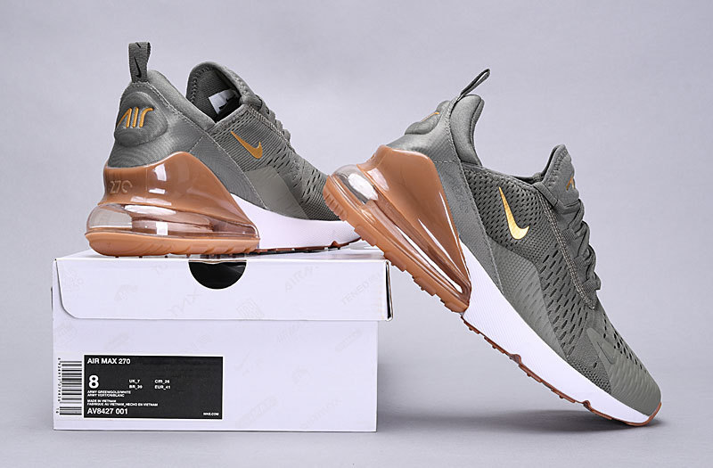 best website 6333b 07d00 Nike Air Max 270 Flyknit Dark Stucco/Sail/Gum Light Brown/Metallic Gold  AV8427-001 Women's Men's Casual Shoes NIKE-ST005699