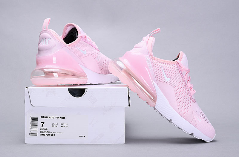 release date 8fcfd 09c6f Nike Air Max 270 Flyknit Pink White AH6789 601 Women's Casual Shoes  NIKE-ST005689