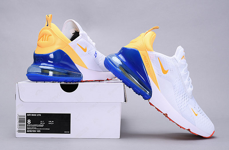 meet 23d17 ada30 Nike Air Max 270 Flyknit Phillippines White / Yellow / Blue AH6789 105  Women's Men's Casual Shoes NIKE-ST005695