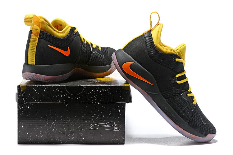 new arrival 31548 3b9bc Men's Nike PG 2 Black Yellow Orange Basketball Shoes NIKE-ST005848