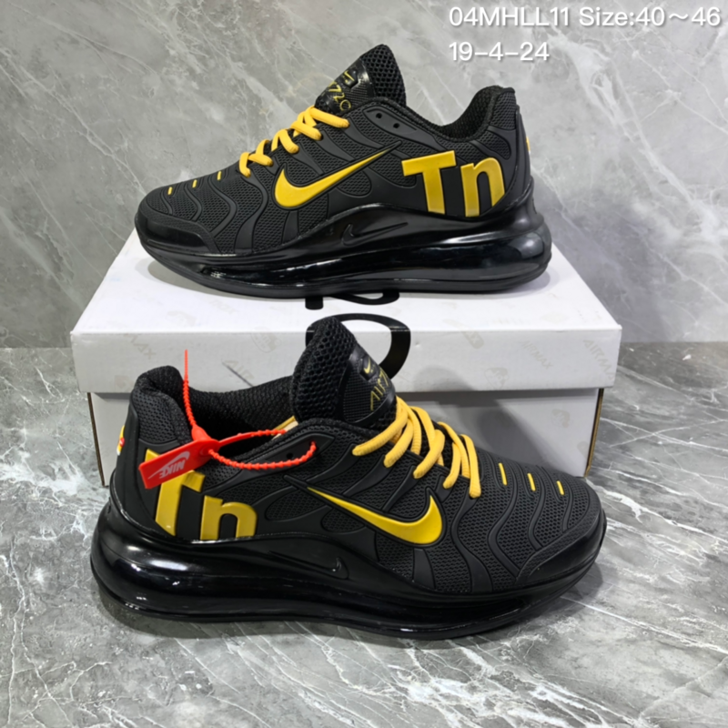 59d2f57d30b Nike Air Vapormax Plus Tn-720 Kpu Black Yellow Trainer Men s Running Shoes