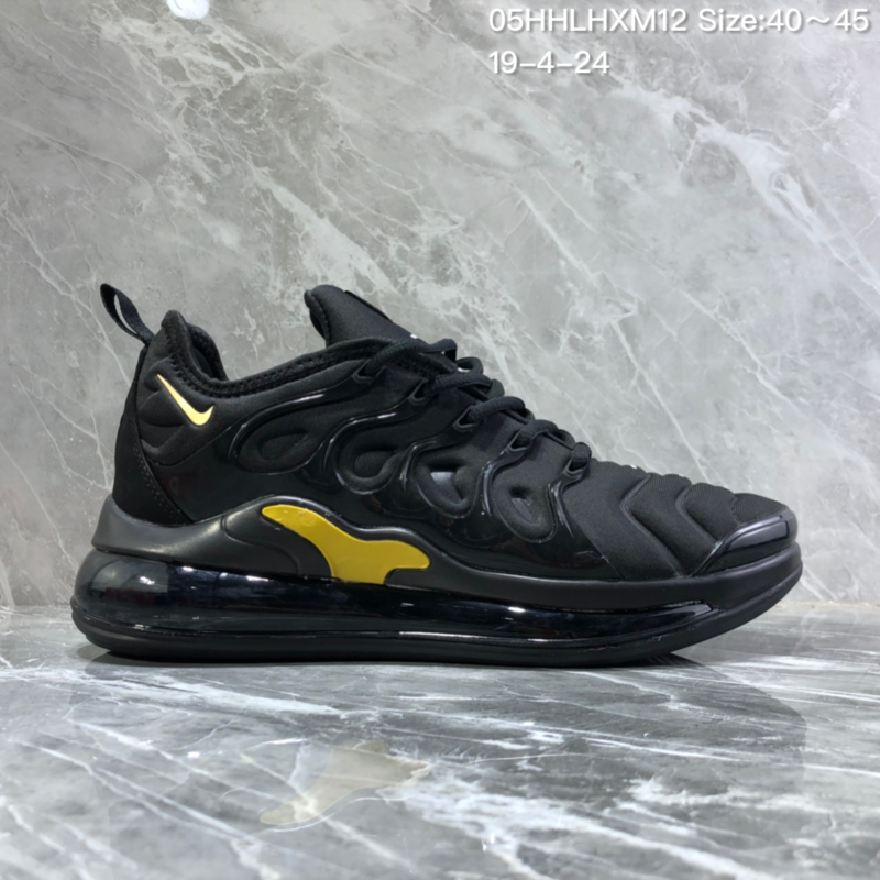 online store 7f389 ced31 Nike Air Vapormax Plus Tn-720 Black Gold Trainer Men's Running Shoes  NIKE-ST005983