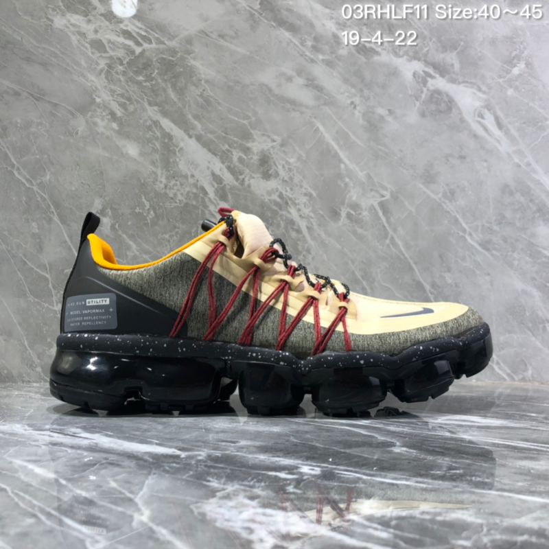 b2cb2c88a4cc2 Nike Air VaporMax Flyknit 2018 Black Beige Men s Running Shoes NIKE ...