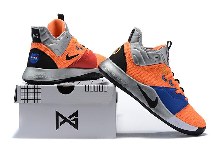wholesale dealer b252c a0a5b Men's Nike PG 3 NASA Total Orange Black-Metallic Silver CI2666-800  Basketball Shoes CI2666-800