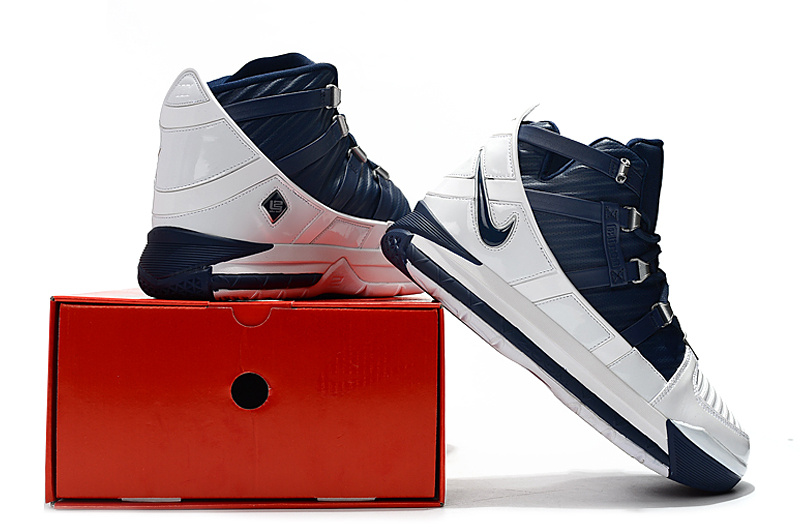 51d8e09bae332 Nike LeBron 3 White Midnight Navy-Metallic Silver AO2434-103 Men s ...