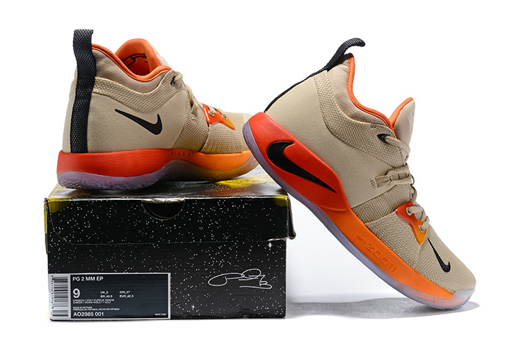 new arrivals be203 8179f Men's Nike PG 2 Khaki Orange Blue Basketball Shoes NIKE-ST005851