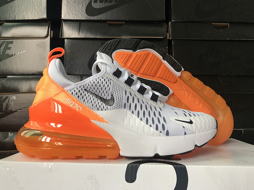 official photos 12aa8 18bc4 Nike Air Max 270 White Orange Black Women's Casual Shoes NIKE-ST006166