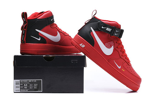 meet d3fd6 d536b Nike Air Force 1 Mid '07 Lv8 University Red/White-Black 804609 605 Women's  Men's Sneakers 804609-605