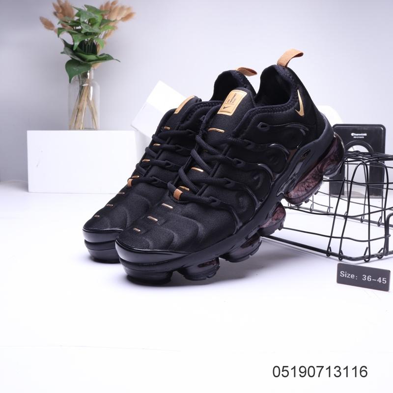 NIKE ST006318 Black Gold Men's Womens Nike Shoes Tn Running