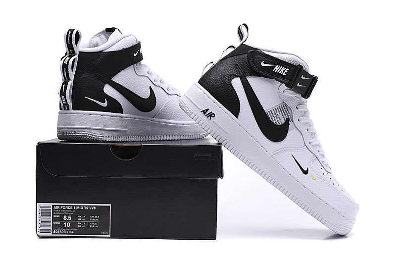 online store f9bc0 e5706 Nike Air Force 1 Mid Utility White/Tour Yellow/Black 804609 103 Women's  Men's Sneakers 804609-103