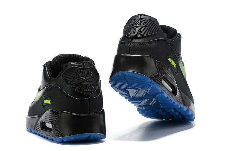 6cbea41d72 Nike Air Max 90 Black Green AQ6101 001 Men's Running Shoes Sneakers ...