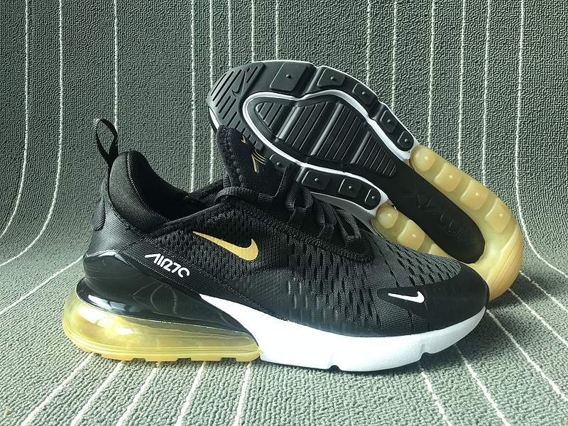 san francisco 24228 81672 Nike Air Max 270 Black Gold White Men's Casual Shoes NIKE-ST006158