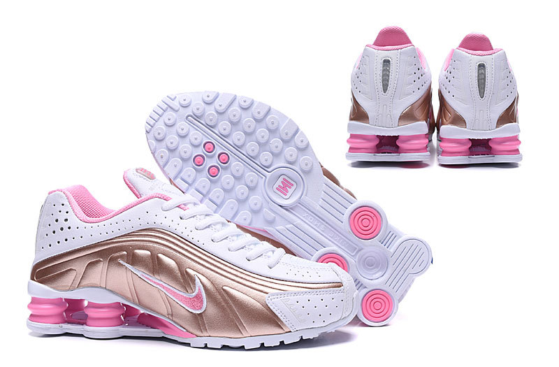 the latest cb992 c4aae Nike Shox R4 White Pink Gold Women s Running Shoes