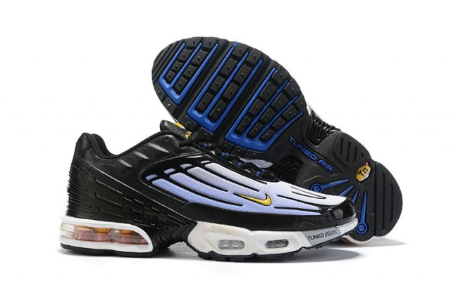 aa079343f0 Mens Nike Tuned Air Max Plus Tn Black White Royal Blue Males Running Shoes