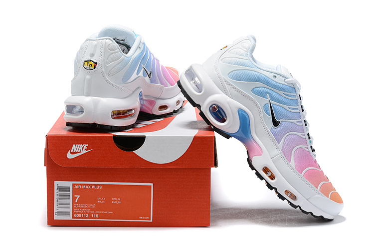 Womens Nike Air Max Plus TN White Black Multi Color 605112 115 Running Shoes 605112 115