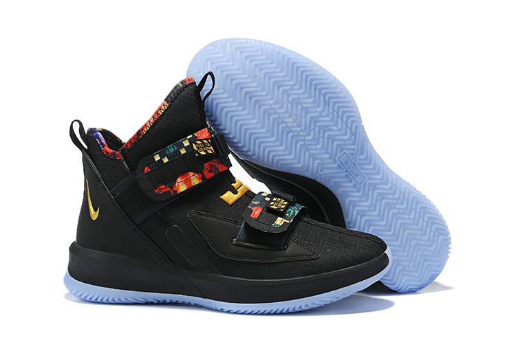 new products fb94b 907a2 Nike LeBron Soldier 13 Black Multi-Color Men's Basketball Shoes  NIKE-ST006455