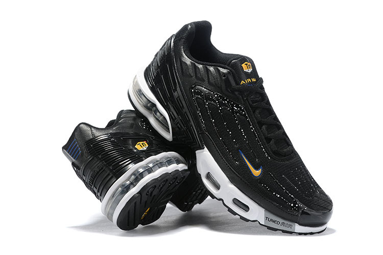 new arrival 11659 90912 Mens Nike Tuned Air Max Plus Tn Black White Gold Blue Males Running Shoes