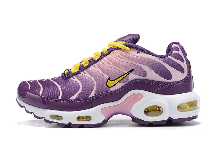 finest selection 7192f 59d0c Womens Nike Air Max Plus TN Purple White Yellow BV7962 600 Running Shoes